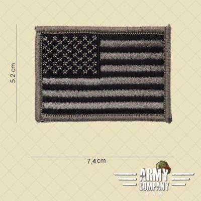 Embleem stof vlag USA zilver met klitteband